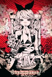 1girl 3kuma alternate_costume chair flower hair_ribbon highres kagamine_rin looking_at_viewer red_background ribbon short_hair solo vocaloid
