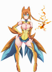 bare_shoulders blue_eyes breasts center_opening charizard detached_sleeves dress fire full_body highres large_breasts long_hair mega_charizard_y mega_pokemon orange_hair personification pokemon pokemon_(game) ponytail short_dress solo xiaoking