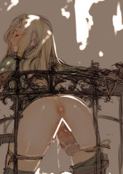 1girl anus ass bdsm blonde_hair blush bondage branch_(blackrabbits) censored cum cum_in_ass cum_in_pussy disembodied_penis eyes_closed final_fantasy final_fantasy_tactics hands_tied long_hair magic_penis milleuda_folles penis rope sex solo_focus tears vaginal