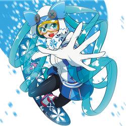 1girl aqua_eyes aqua_hair black_legwear gloves hat hatsune_miku highres long_hair looking_at_viewer mythless open_mouth pantyhose quin_tails ski_goggles smile snowboard solo very_long_hair vocaloid white_gloves yuki_miku