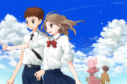 1boy 1girl age_comparison bad_id brown_eyes brown_hair cloud digimon digimon_adventure digimon_adventure_tri digimon_adventure_tri. dual_persona gloves hat izumi_koushirou long_hair ogura_(pixiv97931) pointing school_uniform short_hair sky tachikawa_mimi
