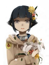 1girl black_hair flower grey_eyes hair_flower hair_ornament highres hyuuga_hinata matchazi naruto short_hair solo