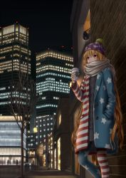 2boys 4girls adapted_costume american_flag_legwear beanie blonde_hair building buttons car city clownpiece coat contemporary cup dtvisu hand_in_pocket hat highres long_hair motor_vehicle mug multiple_boys outdoors pantyhose polka_dot purple_eyes scarf solo_focus sweater touhou tree vehicle very_long_hair window winter_clothes winter_coat