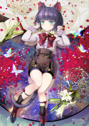 androgynous animal_ears bangs black_legwear blue_eyes blunt_bangs bob_cut book boots bow bowtie butterfly buttons cat_ears cat_tail flower from_above full_body green_eyes kuroi kuroinyan long_sleeves looking_at_viewer lying multicolored_eyes on_back open_book original petals pixiv_fantasia pixiv_fantasia_new_world purple_eyes purple_hair short_hair socks solo tail thigh_gap twitter_username water watermark web_address