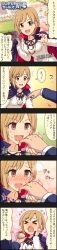 1girl 5koma aiba_yumi blonde_hair brown_eyes character_name colored comic fangs highres idolmaster idolmaster_cinderella_girls long_image official_art open_mouth producer_(idolmaster) short_hair tall_image translation_request