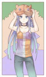 1girl animal_hat bei_mochi blue_eyes blue_hair caster casual fate/stay_night fate_(series) hat highres pointy_ears solo