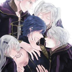 2girls 3boys artist_request blue_hair cloak fire_emblem fire_emblem:_kakusei krom multiple_persona my_unit_(fire_emblem:_kakusei) nintendo silver_hair