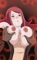 1girl areolae breasts cum face kunaix large_breasts naruto navel nipples pov red_hair uchiha_obito uzumaki_kushina