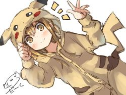 1girl artist_name brown_eyes brown_hair commentary_request darkside inazuma_(kantai_collection) kantai_collection looking_at_viewer pikachu_costume pikachu_ears pikachu_tail pokemon raised_hand smile solo tail