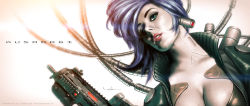 1girl blue_eyes breasts cable cropped_torso cyberpunk cyborg dutch_angle ghost_in_the_shell gun jacket kusanagi_motoko lips machinery purple_hair realistic redesign science_fiction signature submachine_gun tagme upper_body valzonline watermark weapon white_skin
