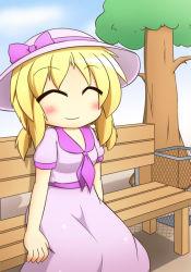 ^_^ bench blonde_hair demon dress eyes_closed female hat luize mystic_square senba_chidori sitting touhou tree