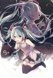 1girl :d boots detached_sleeves green_eyes green_hair hatsune_miku long_hair necktie open_mouth skirt sleeves_past_wrists smile solo thigh_boots thighhighs twintails very_long_hair vocaloid