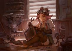 1girl :p black_gloves black_legwear boku_no_hero_academia breasts cleavage drawfag gloves goggles goggles_on_head hatsume_mei indian_style indoors machinery musical_note no_shoes orange_eyes paper pink_hair robot short_hair sitting smile solo the_beatles thighhighs tongue tongue_out window wrench