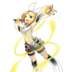 1girl aqua_eyes artist_request blonde_hair bow detached_sleeves headphones highres kagamine_rin kagamine_rin_(append) microphone nail_polish open_mouth short_hair shorts smile solo transparent_background uchi_no_hime-sama_ga_ichiban_kawaii vocaloid vocaloid_append