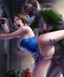 1girl against_wall areolae bare_shoulders bent_over blue_eyes blush breasts brown_hair censored deep_rising fingerless_gloves gun highres jill_valentine large_breasts leg_up legs monster nipples no_bra open_mouth panties panties_aside penis pussy rape resident_evil sex short_hair skirt standing sweat thighs underwear vaginal weapon zombie