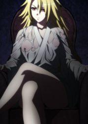 1girl blonde_hair charles_d'artagnan highres hyakka_ryouran_samurai_girls long_hair nipples red_eyes sitting solo stitched transparent