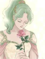 1girl breasts cape dress earrings final_fantasy final_fantasy_vi green_hair jewelry long_hair ponytail solo tina_branford
