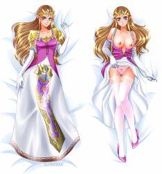 blue_eyes breasts brown_hair cloveras elbow_gloves long_hair panties pointy_ears princess_zelda thighhighs twilight_princess