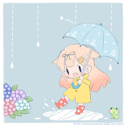 1girl :> :d alternate_costume anchor_symbol black_ribbon blonde_hair boots comic fang flower frog hair_flaps hair_ornament hair_ribbon hairclip hydrangea kantai_collection long_hair long_sleeves lowres momoniku_(taretare-13) open_mouth puddle rain raincoat remodel_(kantai_collection) ribbon rubber_boots simple_background smile solo umbrella yuudachi_(kantai_collection)