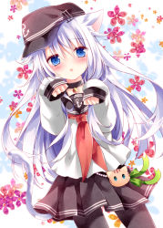 1girl anchor_symbol animal_ears ascot bell bell_collar blue_eyes blush cat_ears cat_tail cherry_blossoms clenched_hands collar collarbone flat_cap hat hibiki_(kantai_collection) kantai_collection kemonomimi_mode long_hair long_sleeves looking_at_viewer neckerchief nogi_takayoshi pantyhose paw_pose pleated_skirt school_uniform serafuku silver_hair skirt solo tail white_hair