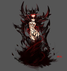 1girl armor artist_name black_hair black_sclera claws defense_of_the_ancients demon_girl dota_2 fangs glowing glowing_eyes grey_background highres mcrc_science monster_girl multicolored_hair open_mouth red_eyes red_hair revealing_clothes shadow_fiend