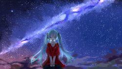 1girl aqua_eyes aqua_hair blue_eyes blue_hair blush crying dress female hatsune_miku long_hair looking_at_viewer milky_way night open_mouth sky solo stars tears twintails vocaloid yutara