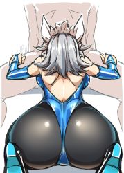 1girl alternate_costume ass back black_legwear blue_leotard blue_shoes bridal_gauntlets clothed_female_nude_male foreshortening from_behind gloves grey_hair hand_on_another's_thigh head_out_of_frame high_heels highres izayoi_sakuya latex latex_gloves leaning_forward leotard maid_headdress nude pantyhose perspective pov_ass shiny shiny_clothes shiny_hair shiny_skin shoes short_hair sketch solo_focus spread_legs tajima_yuuki thong_leotard touhou