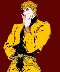 1boy artist_name blonde_hair demi_(02670430) dio_brando earrings hand_on_hip highres jewelry jojo_no_kimyou_na_bouken male_focus red_background red_eyes signature smile smug solo turtleneck upper_body
