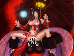 ahri animal_ears breasts cum cum_in_pussy large_breasts league_of_legends malphite multiple_tails sex tail vaginal