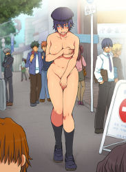 1girl areola_slip areolae blue_eyes blue_hair blush breast_hold breasts cabbie_hat covering covering_breasts covering_crotch crowd curvy embarrassed eroe exhibitionism hat large_breasts narukami_yuu navel nipple_slip nipples nude open_mouth outdoors persona persona_4 public public_nudity shirogane_naoto short_hair solo_focus sweat