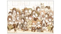 6+girls admiral_(kantai_collection) age_difference ahoge airplane akagi_(kantai_collection) aoba_(kantai_collection) arm_support arms_around_neck bandaid_on_face brown_hair bunny collared_shirt crossed_arms dated detached_sleeves elbow_gloves eyepatch finger_to_mouth gloves group_picture hair_ornament hair_ribbon hairband hairclip hand_on_another's_chest hands_in_lap hands_on_knees hands_on_shoulders haruna_(kantai_collection) hat headband headgear high_ponytail highres hiyou_(kantai_collection) hug hug_from_behind hyuuga_(kantai_collection) indian_style ise_(kantai_collection) japanese_clothes jintsuu_(kantai_collection) jun'you_(kantai_collection) kaga_(kantai_collection) kantai_collection katana kirishima_(kantai_collection) kitakami_(kantai_collection) kneeling knees_to_chest knees_together_feet_apart knees_together_feet_together kongou_(kantai_collection) kuroshio_(kantai_collection) long_hair low_twintails magatama maya_(kantai_collection) mechanical_halo mogami_(kantai_collection) multiple_girls muneate murakumo_(kantai_collection) neck_ribbon neckerchief necktie nontraditional_miko oboro_(kantai_collection) one_eye_closed one_knee ooi_(kantai_collection) peaked_cap ponytail purple_hair ribbon rice rice_bowl rice_spoon sailor_collar school_uniform seiza serafuku sheath sheathed shiranui_(kantai_collection) shiratsuyu_(kantai_collection) short_hair side_ponytail sitting souryuu_(kantai_collection) suzukaze_(kantai_collection) suzuya_(kantai_collection) sword tatsuta_(kantai_collection) tenryuu_(kantai_collection) twintails two-finger_salute uzaki_(jiro) v v_(bunny_ears) waistcoat weapon yokozuwari younger yukikaze_(kantai_collection)