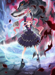 1girl ange_vierge arms_up blue_eyes detached_sleeves dress fangs highres horns kankurou long_hair magic magic_circle mary_janes monster original pink_hair scar shoes skull smile staff summoning twintails weapon wolf