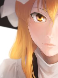 1girl amino_(tn7135) blonde_hair blurry close-up face hat kirisame_marisa light_particles lips long_hair looking_at_viewer out_of_frame portrait revision signature simple_background solo touhou turtleneck white_background witch_hat yellow_eyes