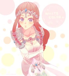 1girl alternate_color artist_request blue_eyes blush brown_hair collarbone dress elbow_gloves gloves hair_ornament heart jewelry looking_at_viewer pointy_ears princess_zelda shoulder_pads solo super_smash_bros. the_legend_of_zelda tiara twilight_princess white_gloves