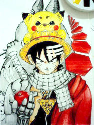 1boy black_eyes black_hair bleach crossover deadman_wonderland death_note dragon_ball dragonball_z elfen_lied fairy_tail fullmetal_alchemist gintama hat jewelry naruto necklace one_piece parody pokemon red_cloak scarf soul_eater straw_hat style_parody tagme to_aru_majutsu_no_index tonari_no_totoro toriyama_akira_(style) trigun yu-gi-oh!