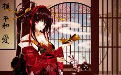 1girl female highres japanese_clothes kimono misaki_kurehito original red_eyes solo wafuku yukata