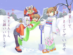 2boys 2girls aile aqua_hair ashe ashe_(rockman) brown_hair capcom green_eyes grey_(rockman) grey_hair multiple_boys multiple_girls one_eye_closed pantyhose rockman rockman_zx shigehiro_(artist) sigehiro_(artist) snow snowman source_request translated translation_request vent wink