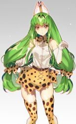 1girl animal_ears artist_name bare_shoulders bow bowtie breasts c.c. code_geass cosplay creayus elbow_gloves gloves green_hair kemono_friends long_hair looking_at_viewer medium_breasts open_mouth serval_(kemono_friends) serval_ears serval_print serval_tail simple_background skirt sleeveless solo tail thighhighs twitter_username yellow_eyes