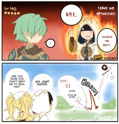 2boys 3girls 4koma armor cape chibi colored comic cynphonium dialogue_box english ephraim female_my_unit_(fire_emblem:_kakusei) fire_emblem fire_emblem:_kakusei fire_emblem:_seima_no_kouseki fire_emblem_heroes holding holding_weapon liz_(fire_emblem) multiple_boys multiple_girls my_unit_(fire_emblem:_kakusei) olivia_(fire_emblem) summoner_(fire_emblem_heroes) twitter_username weapon