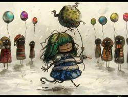 6+girls balloon frog green_hair hair_ornament kochiya_sanae koto_inari long_hair messy_hair multiple_girls school_uniform skirt smile snake touhou