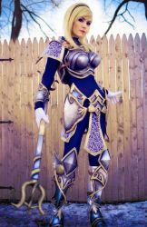 1girl armor blonde_hair bodysuit boots cosplay danielle_beaulieu hair_ornament league_of_legends lipstick looking_at_viewer luxanna_crownguard make_up outdoor staff tagme wand