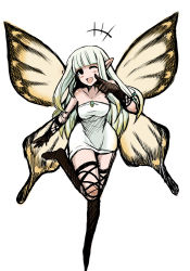 1girl ;d aerie_(bravely_default) bangs black_legwear blunt_bangs bravely_default:_flying_fairy butterfly_wings dress elbow_gloves fairy gloves leaning_forward long_hair md5_mismatch one_eye_closed open_mouth pointy_ears simple_background sketch smile solo strapless_dress thighhighs white_background white_hair wide_hips wings yasakani_an