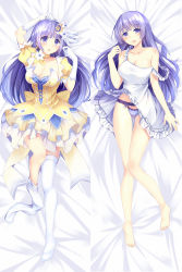 1girl :o barefoot bed_sheet bisonbison blue_eyes blue_hair breasts choker cleavage crescent_hair_ornament dakimakura date_a_live dress hair_ornament highres izayoi_miku long_hair looking_at_viewer lying multiple_views open_mouth panties pantyshot pantyshot_(lying) underwear white_dress