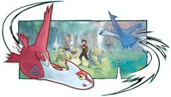 breloom flying forest grass haruka_(pokemon) latias latios manetric nintendo official_art pokemon pokemon_oras