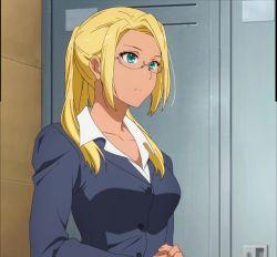 amagi_brilliant_park ashe_(amaburi) blonde_hair glasses green_eyes highres office_lady ponytail screencap
