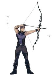 0109_(artist) 1boy archery arrow avengers bow_(weapon) clint_barton drawing_bow hawkeye_(marvel) kyuudou marvel solo weapon