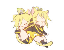1boy 1girl :3 animal_ears antenna_hair bandaid bandaid_on_nose blonde_hair blush brother_and_sister cable cat_ears cat_tail chibi eyebrows eyebrows_visible_through_hair eyes_closed gym_uniform hair_ornament hairclip headphones iruyu jacket kagamine_len kagamine_rin kneehighs long_sleeves project_diva_(series) short_hair shorts siblings simple_background sleeping tail track_jacket track_suit twins vocaloid white_background