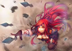 1girl belt black_clothes breasts cleavage cropped_jacket dagger katarina_du_couteau league_of_legends long_hair midriff red_eyes red_hair scar scar_across_eye vococo weapon
