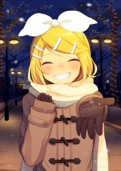 1girl ^_^ bangs beckoning black_gloves blonde_hair blurry breath brown_coat coat eyelashes eyes_closed gloves grin hair_ornament hairclip kagamine_rin lamppost long_sleeves looking_at_viewer night night_sky nokuhashi outdoors outstretched_arm road scarf short_hair sky sleeves_past_wrists smile snow snowing solo street swept_bangs upper_body vocaloid white_scarf winter