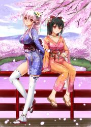 2girls black_hair breasts cleavage feet flower hair_ornament highres japanese_clothes kimono large_breasts long_hair looking_at_viewer midnight_(artist) multiple_girls no_panties original pink_hair ponytail red_eyes revision sitting smile thighhighs toes water white_legwear yukata